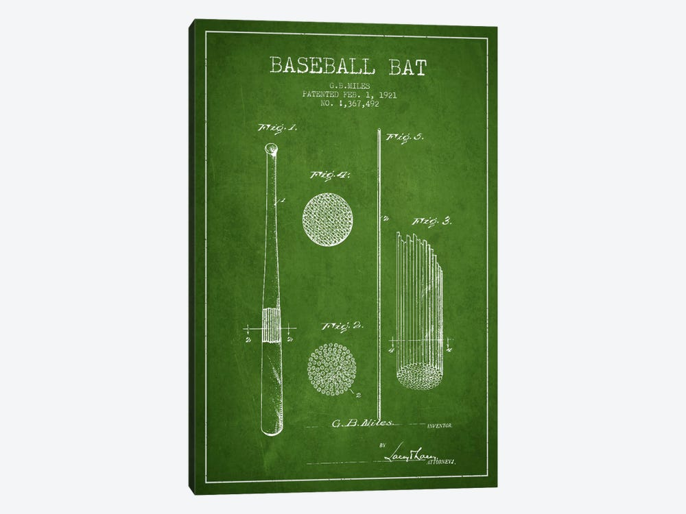 Baseball Bat Green Patent Blueprint 1-piece Canvas Artwork