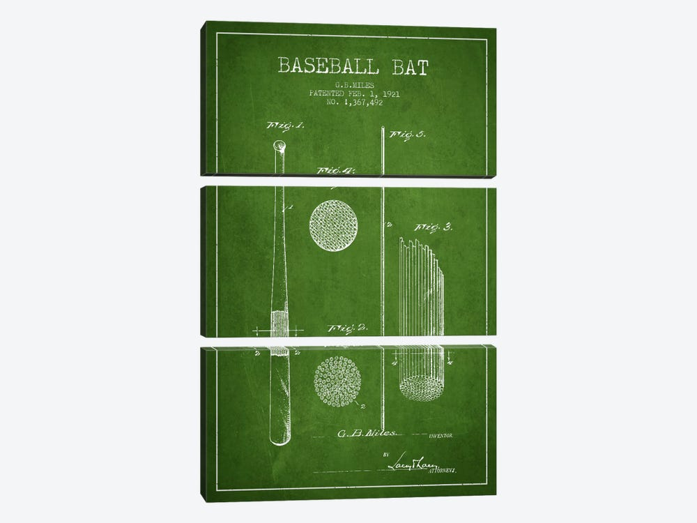 Baseball Bat Green Patent Blueprint 3-piece Canvas Wall Art
