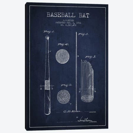 Baseball Bat Navy Blue Patent Blueprint Canvas Print #ADP2067} by Aged Pixel Art Print