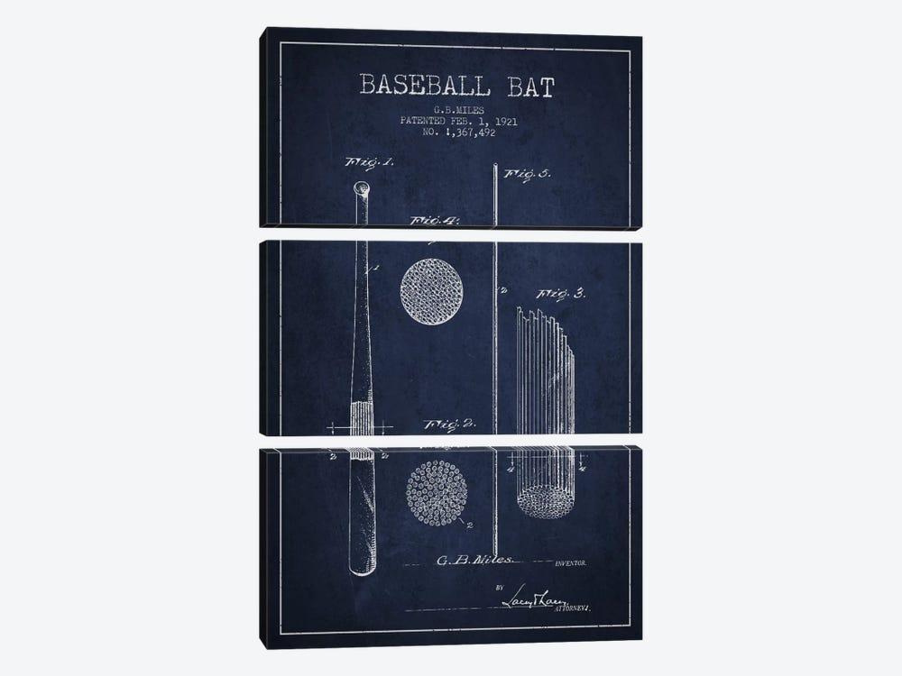 Baseball Bat Navy Blue Patent Blueprint by Aged Pixel 3-piece Canvas Print