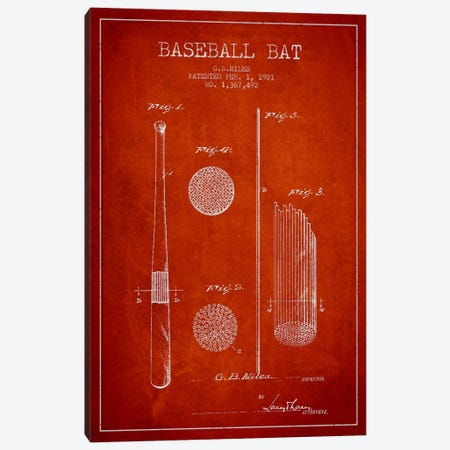 Baseball Bat Red Patent Blueprint Canvas Print #ADP2068} by Aged Pixel Canvas Art