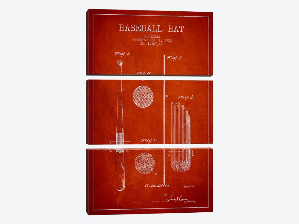 Baseball Bat Red Patent Blueprint by Aged Pixel 3-piece Canvas Wall Art