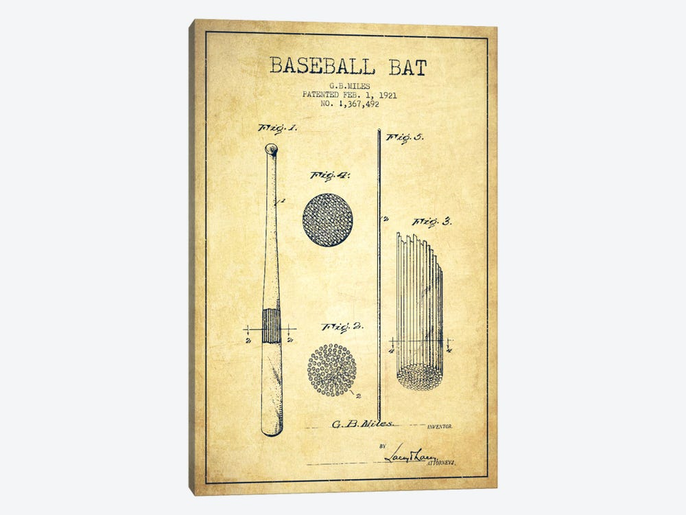 Baseball Bat Vintage Patent Blueprint 1-piece Canvas Print