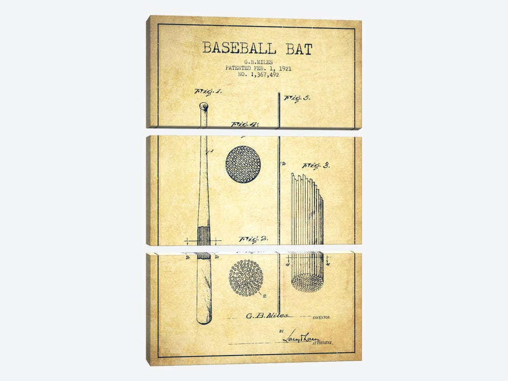 Baseball Bat Vintage Patent Blueprint 3-piece Canvas Art Print