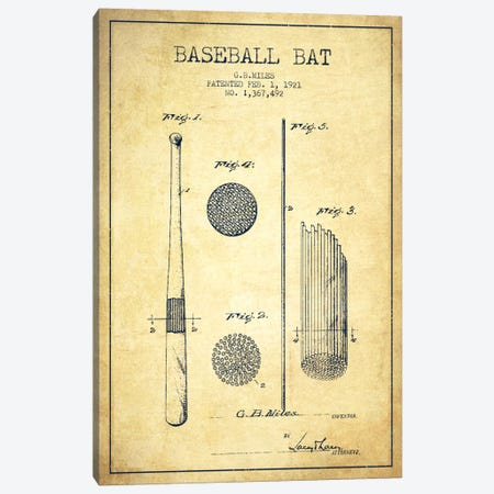 Baseball Bat Vintage Patent Blueprint Canvas Print #ADP2069} by Aged Pixel Canvas Wall Art