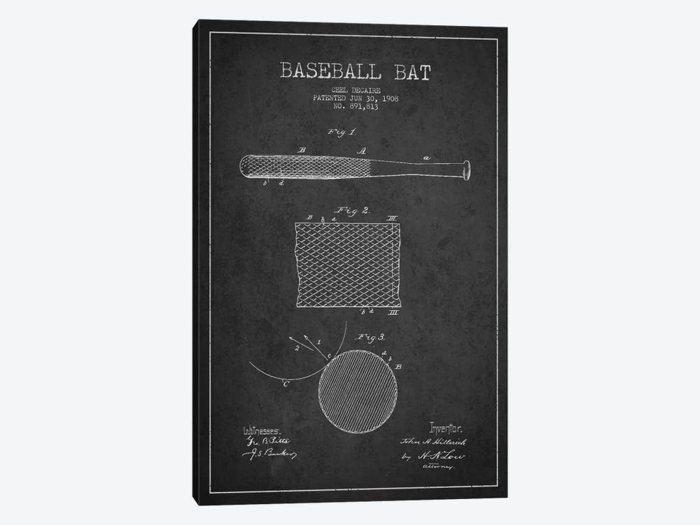 Baseball Bat Charcoal Patent Blueprint by Aged Pixel 1-piece Canvas Art Print