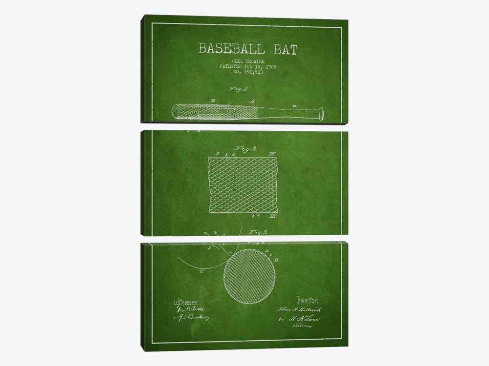 Baseball Bat Green Patent Blueprint by Aged Pixel 3-piece Canvas Artwork
