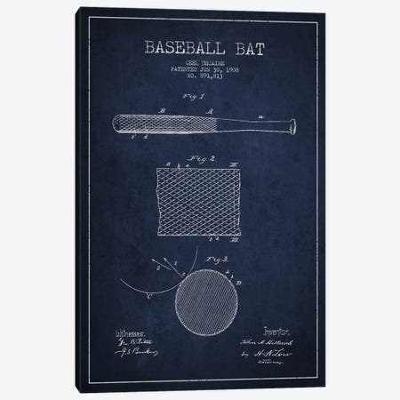 Baseball Bat Navy Blue Patent Blueprint Canvas Print #ADP2072} by Aged Pixel Canvas Print