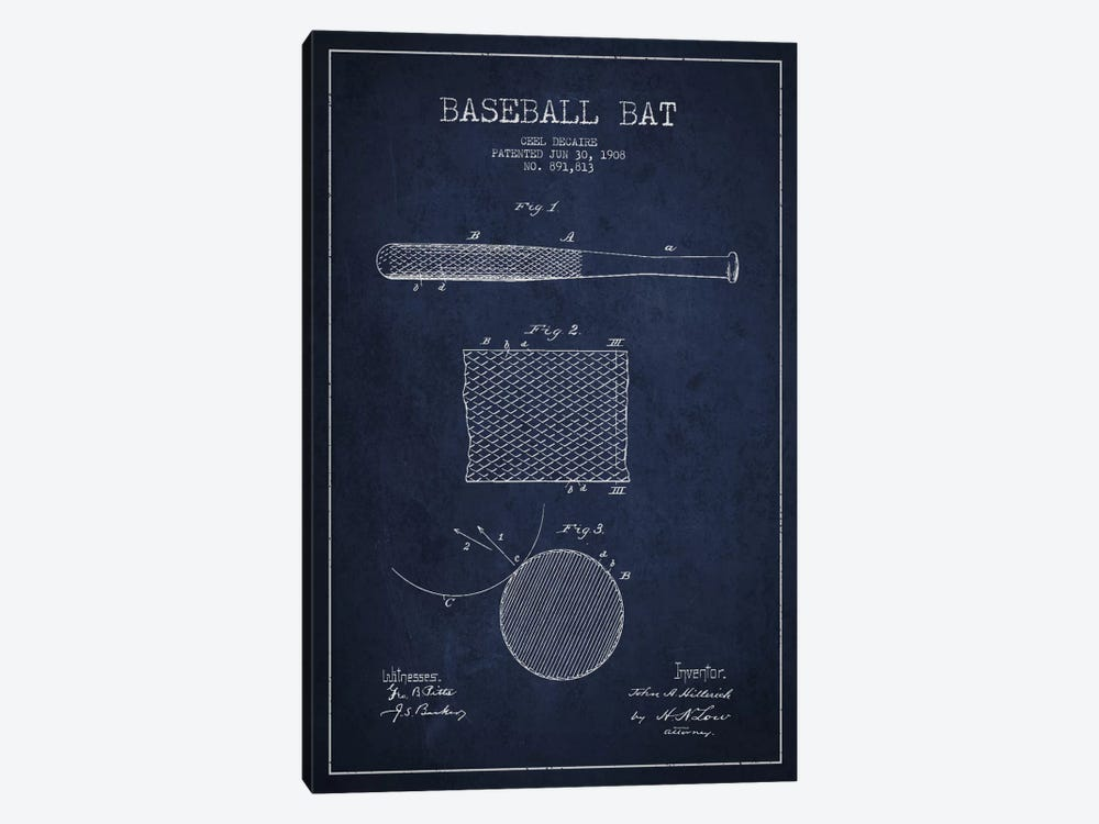 Baseball Bat Navy Blue Patent Blueprint by Aged Pixel 1-piece Canvas Art Print