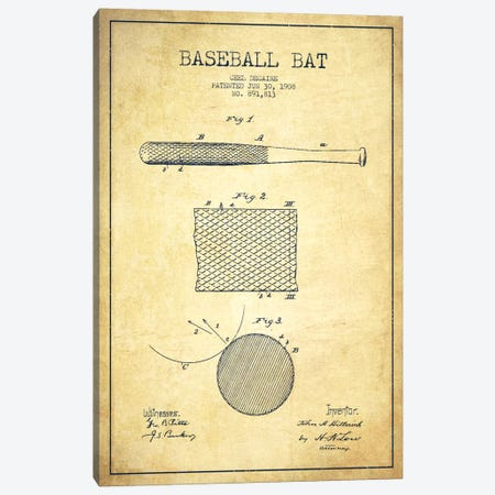Baseball Bat Vintage Patent Blueprint Canvas Print #ADP2074} by Aged Pixel Canvas Wall Art