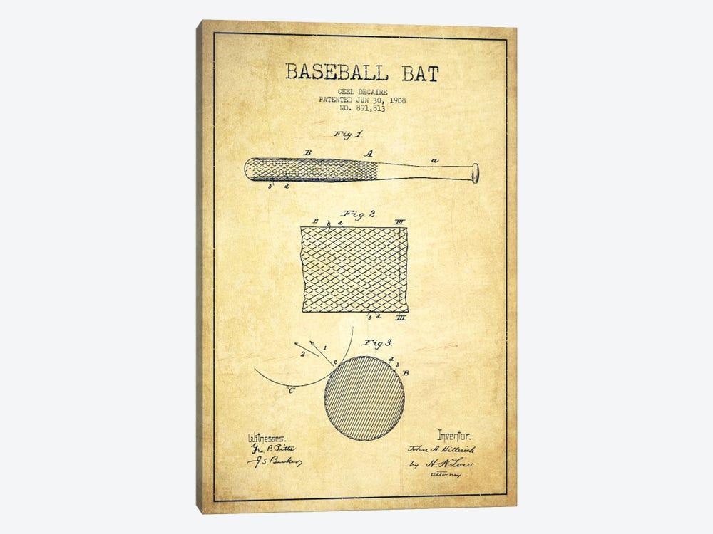 Baseball Bat Vintage Patent Blueprint by Aged Pixel 1-piece Canvas Print