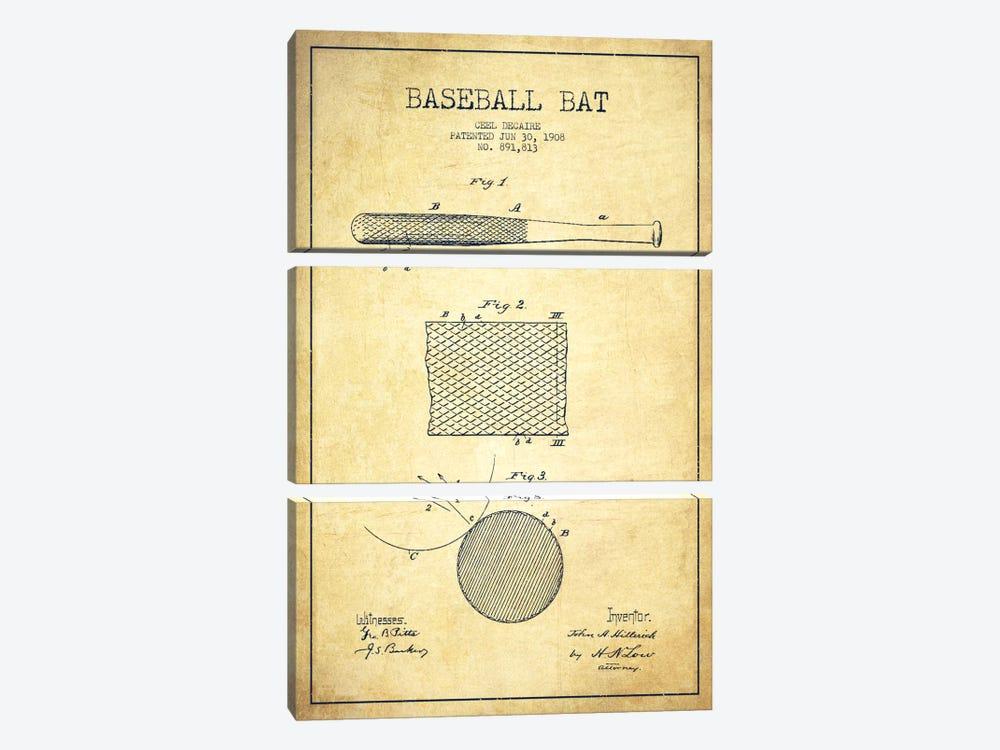Baseball Bat Vintage Patent Blueprint by Aged Pixel 3-piece Canvas Art Print