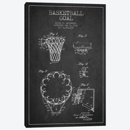 Basketball Goal Charcoal Patent Blueprint Canvas Print #ADP2075} by Aged Pixel Canvas Art
