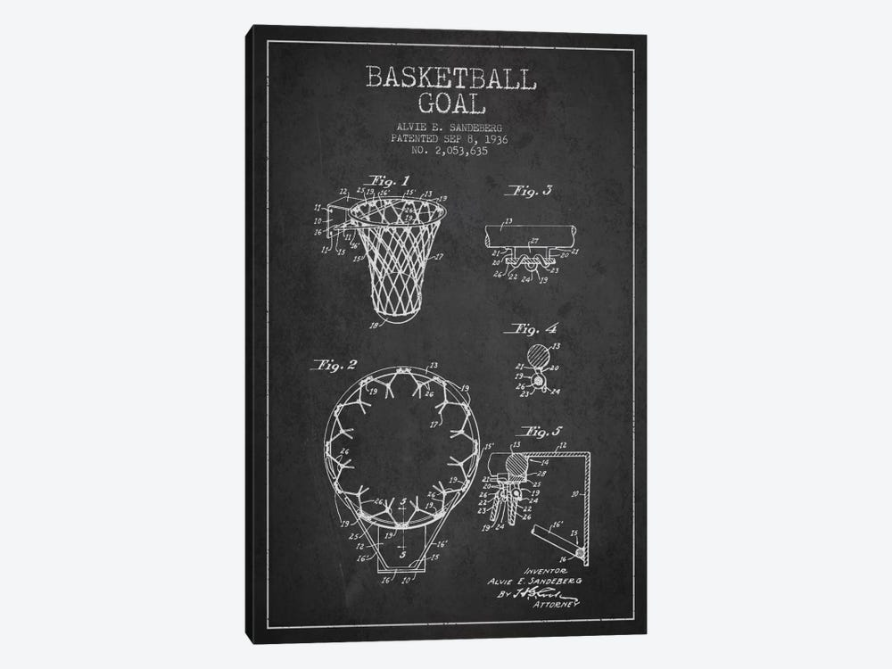 Basketball Goal Charcoal Patent Blueprint by Aged Pixel 1-piece Canvas Artwork