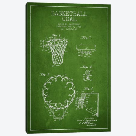 Basketball Goal Green Patent Blueprint Canvas Print #ADP2076} by Aged Pixel Canvas Artwork