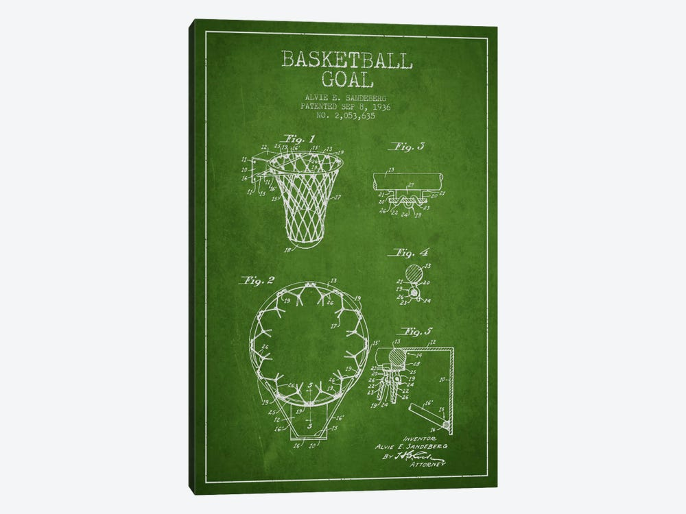 Basketball Goal Green Patent Blueprint by Aged Pixel 1-piece Art Print