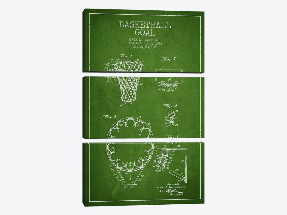 Basketball Goal Green Patent Blueprint by Aged Pixel 3-piece Canvas Print