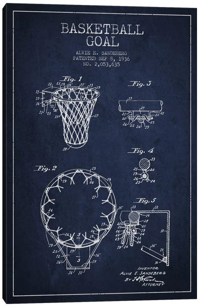 Basketball Goal Navy Blue Patent Blueprint Canvas Art Print