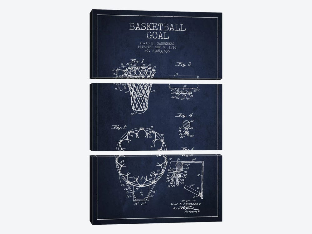 Basketball Goal Navy Blue Patent Blueprint by Aged Pixel 3-piece Canvas Wall Art