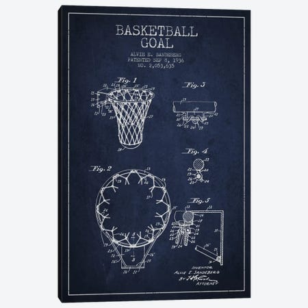 Basketball Goal Navy Blue Patent Blueprint Canvas Print #ADP2077} by Aged Pixel Canvas Wall Art
