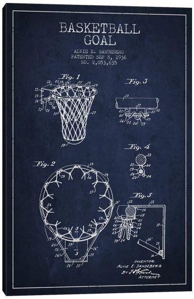 Basketball Goal Navy Blue Patent Blueprint Canvas Art Print