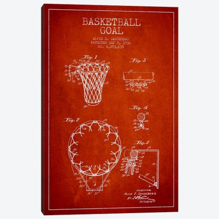 Basketball Goal Red Patent Blueprint Canvas Print #ADP2078} by Aged Pixel Canvas Print