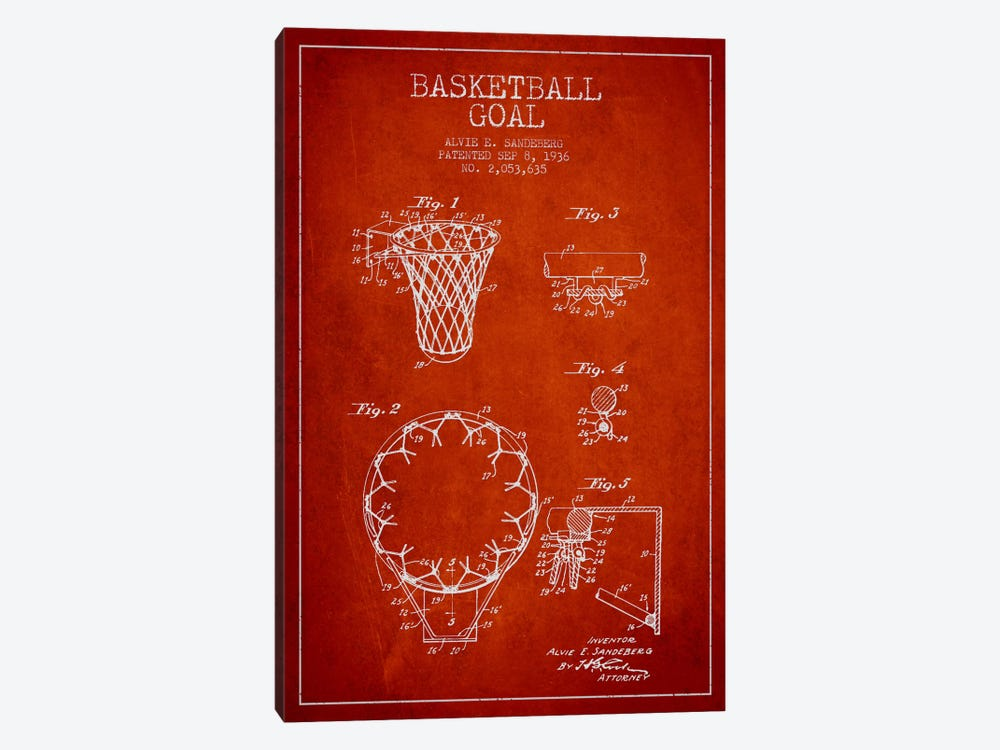 Basketball Goal Red Patent Blueprint by Aged Pixel 1-piece Art Print