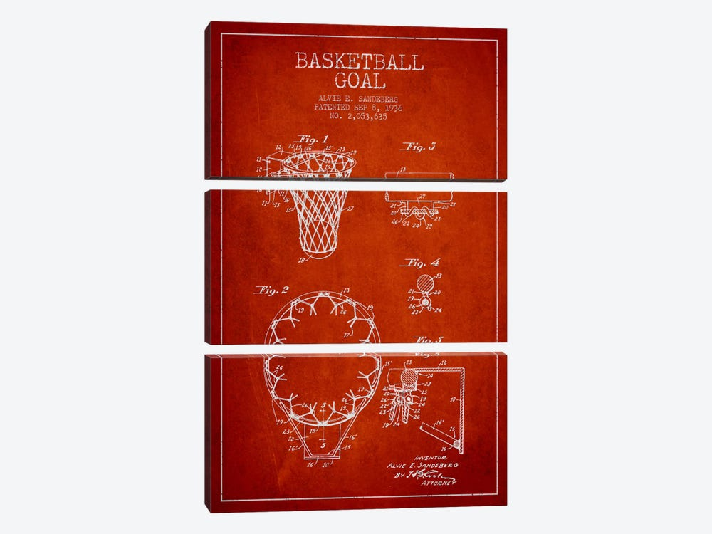 Basketball Goal Red Patent Blueprint by Aged Pixel 3-piece Canvas Art Print