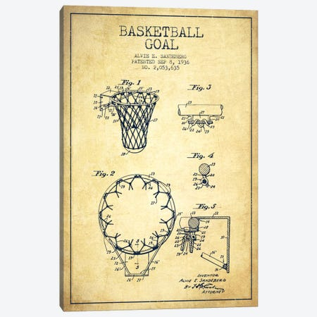 Basketball Goal Vintage Patent Blueprint Canvas Print #ADP2079} by Aged Pixel Canvas Art Print