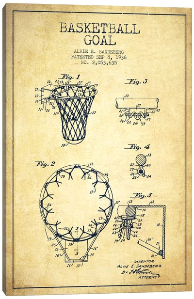 Basketball Goal Vintage Patent Blueprint Canvas Print #ADP2079