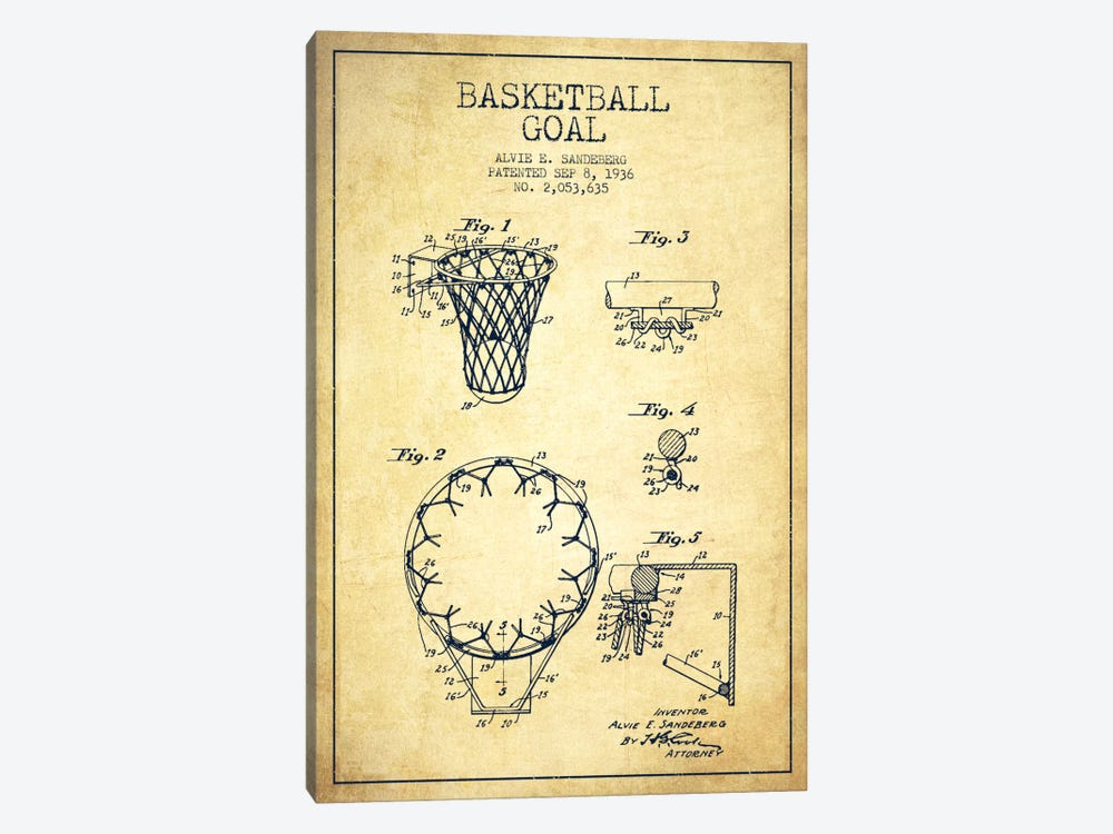 Basketball Goal Vintage Patent Blueprint by Aged Pixel 1-piece Canvas Art