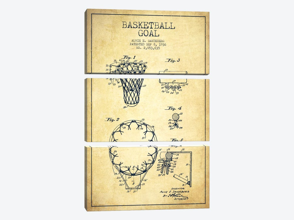 Basketball Goal Vintage Patent Blueprint by Aged Pixel 3-piece Canvas Wall Art