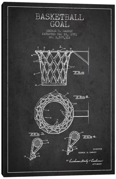 Basketball Goal Charcoal Patent Blueprint Canvas Art Print