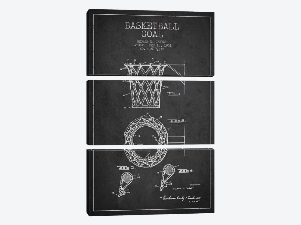 Basketball Goal Charcoal Patent Blueprint by Aged Pixel 3-piece Canvas Wall Art
