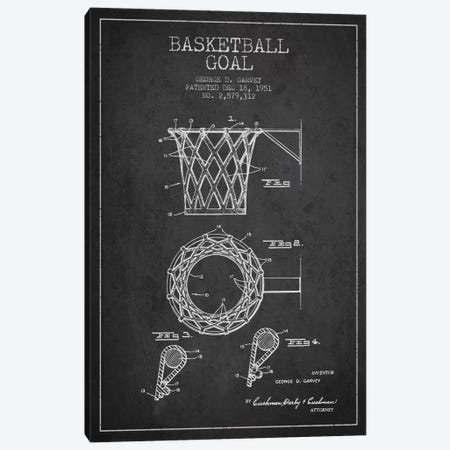 Basketball Goal Charcoal Patent Blueprint Canvas Print #ADP2080} by Aged Pixel Canvas Art