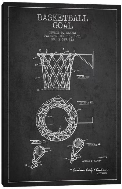 Basketball Goal Charcoal Patent Blueprint Canvas Art Print