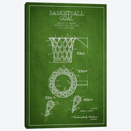 Basketball Goal Green Patent Blueprint Canvas Print #ADP2081} by Aged Pixel Canvas Art