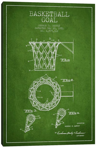 Basketball Goal Green Patent Blueprint Canvas Art Print