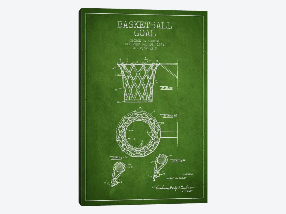 Basketball Goal Green Patent Blueprint by Aged Pixel 1-piece Canvas Print