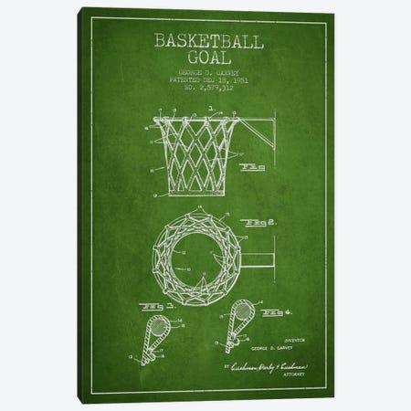 Basketball Goal Green Patent Blueprint Canvas Print #ADP2081} by Aged Pixel Canvas Art