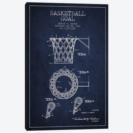 Basketball Goal Navy Blue Patent Blueprint Canvas Print #ADP2082} by Aged Pixel Canvas Art