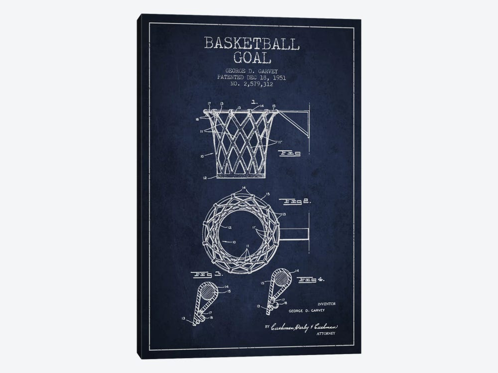 Basketball Goal Navy Blue Patent Blueprint by Aged Pixel 1-piece Canvas Artwork