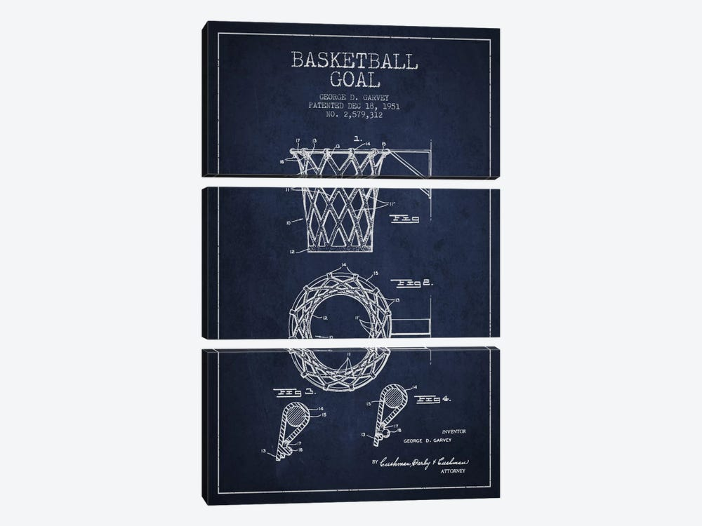 Basketball Goal Navy Blue Patent Blueprint by Aged Pixel 3-piece Canvas Artwork