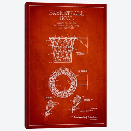 Basketball Goal Red Patent Blueprint Canvas Print #ADP2083} by Aged Pixel Canvas Artwork