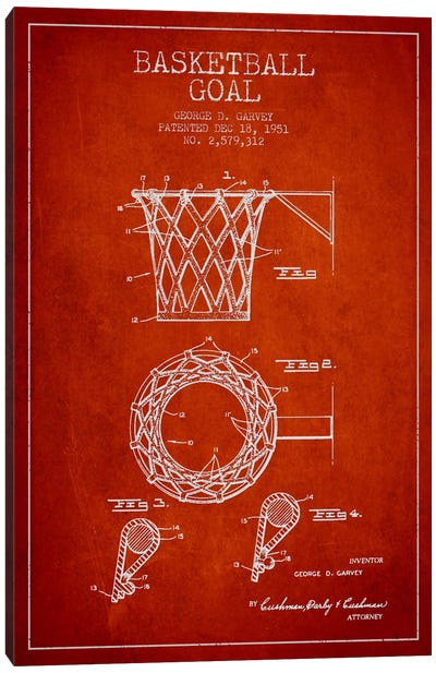 Basketball Goal Red Patent Blueprint Canvas Art Print