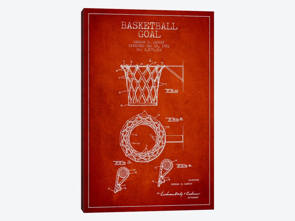 Basketball Goal Red Patent Blueprint by Aged Pixel 1-piece Canvas Art Print