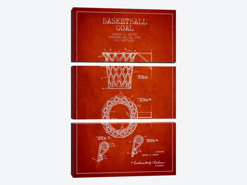 Basketball Goal Red Patent Blueprint by Aged Pixel 3-piece Art Print