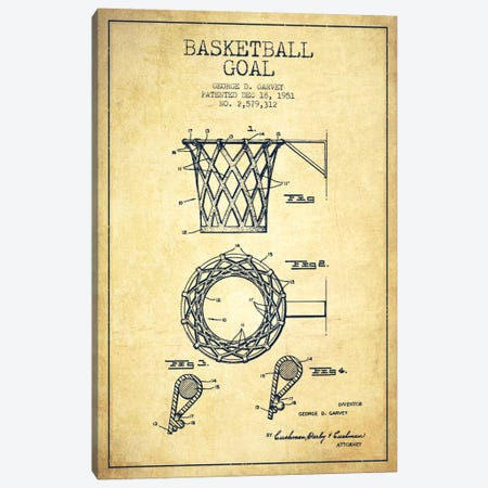 Basketball Goal Vintage Patent Blueprint Canvas Print #ADP2084} by Aged Pixel Canvas Print