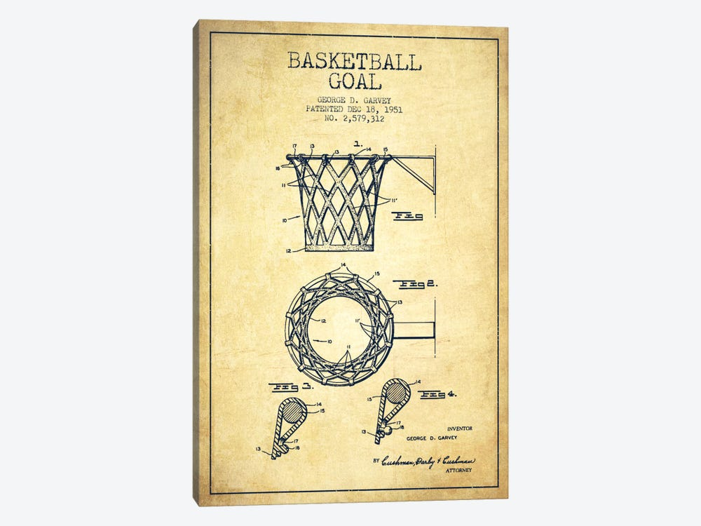 Basketball Goal Vintage Patent Blueprint by Aged Pixel 1-piece Canvas Artwork