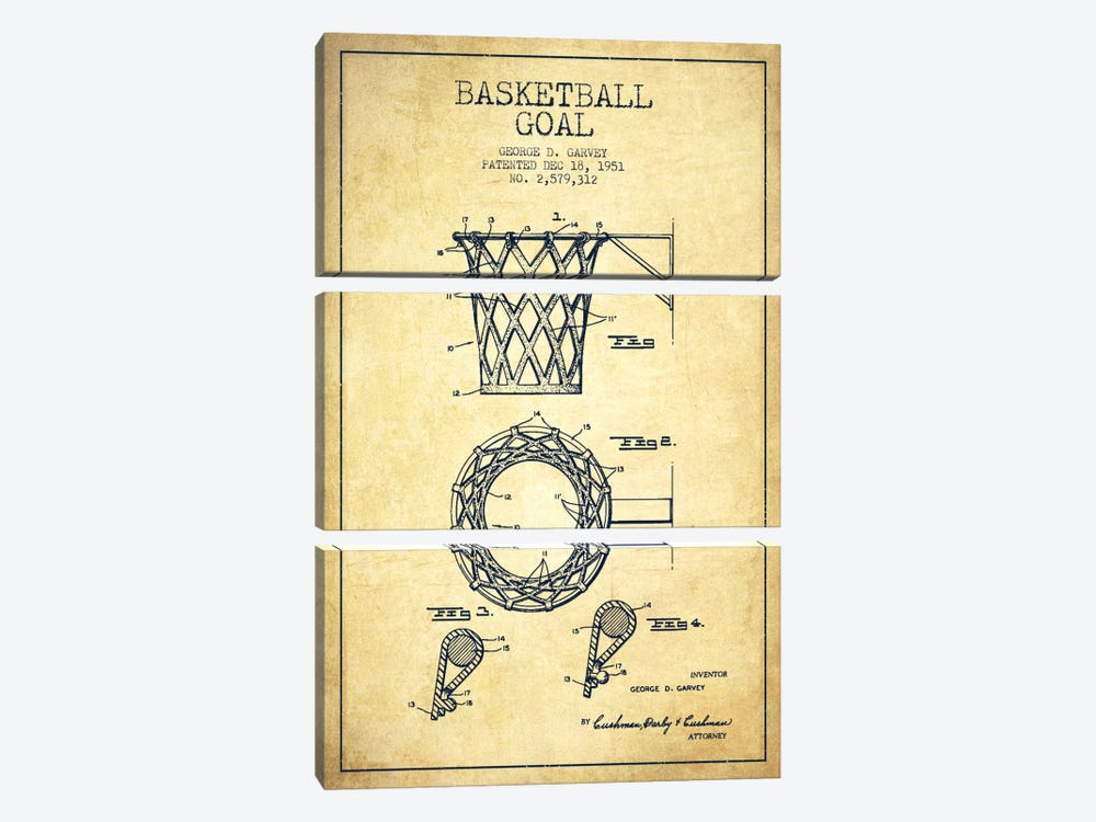 Basketball goal vintage patent blueprint canvas a for Vintage basketball wall art